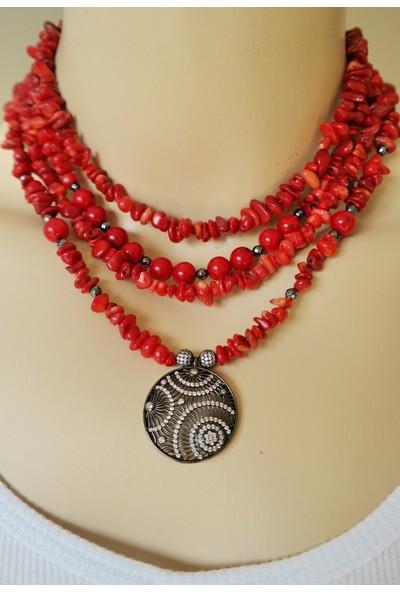 Dizayn Cam Kırmızı Mercan ve Hematit Doğaltaş Çoklu Tasarım Kolye