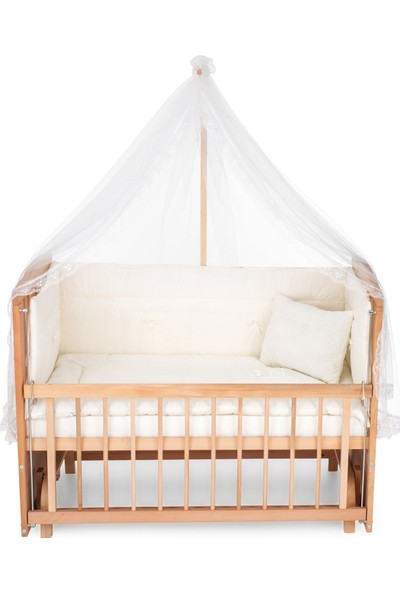Heyner Ahşap Organik Beşik Anne Yanı Beşik 3 Kademeli Lüx Bebek Beşiği 60 x 120 cm - Krem Güpür Uyku Setli & Soft Yataklı