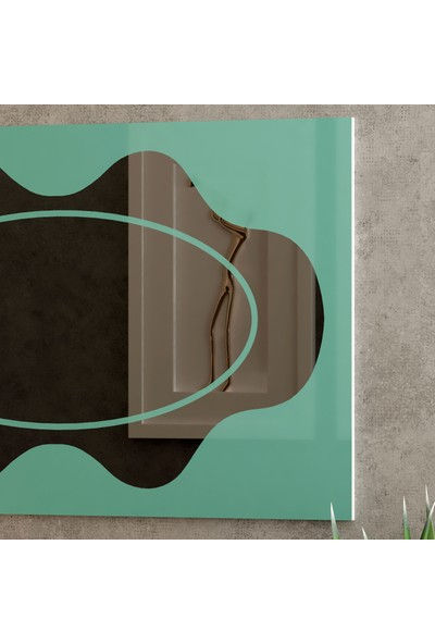 Camex Turkuaz Renkli Dekoratif Şekil Ayna