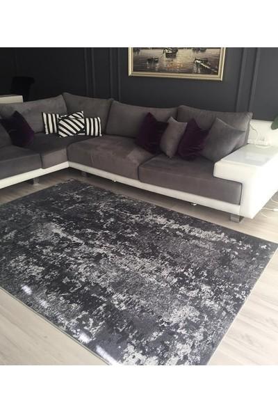 Apree Home Tarz Gri Dijital Baskılı, Kaymaz Suni Deri Tabanlı, Makinada Yıkanabilir Halı 140 x 250 cm