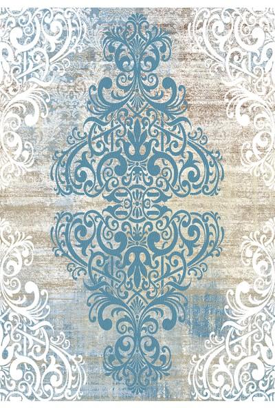 Apree Home Zara Mavi Dijital Baskılı, Kaymaz Suni Deri Tabanlı, Makinada Yıkanabilir Halı 140 x 250 cm