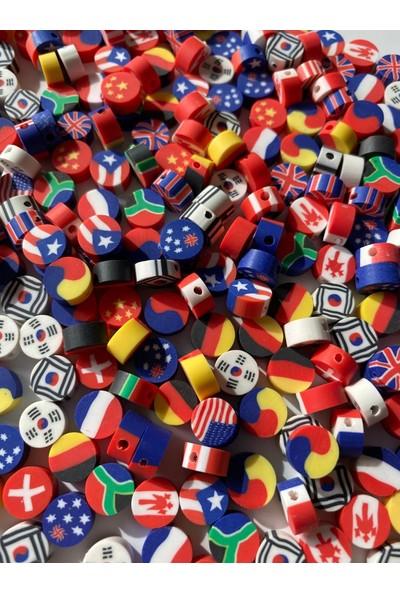Hedef Bijuteri 10 mm Polimer Kil Fimo Renkli Yuvarlak Ülke Bayrakları Boncuk 50 Adet