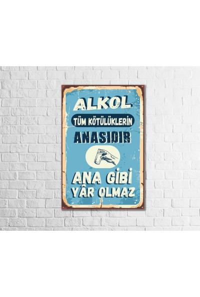 Fandomya Ahşap Poster Alkol 12 x 17 cm + Çift Taraflı Bant