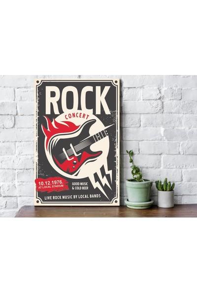 Fandomya Ahşap Poster Rock Music 12 x 17 cm + Çift Taraflı Bant