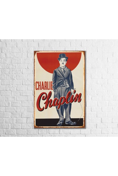 Fandomya Ahşap Poster Charlie Chaplin 12 x 17 cm + Çift Taraflı Bant