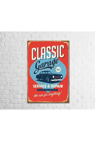 Fandomya Ahşap Poster Classic Garage 12 x 17 cm + Çift Taraflı Bant