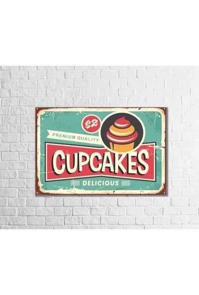 Fandomya Ahşap Poster Cupcake-II 12 x 17 cm + Çift Taraflı Bant