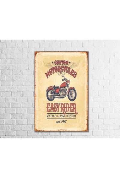 Fandomya Ahşap Poster Custom Motorcyle 12 x 17 cm + Çift Taraflı Bant