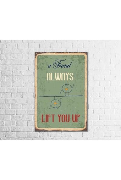 Fandomya Ahşap Poster Friend Always 12 x 17 cm + Çift Taraflı Bant