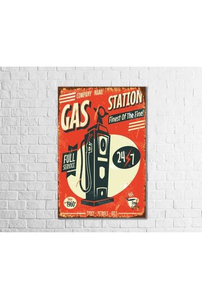 Fandomya Ahşap Poster Gas Station 12 x 17 cm + Çift Taraflı Bant