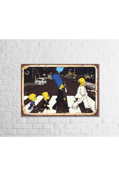 Fandomya Ahşap Poster Simpsons The Beatles 12 x 17 cm + Çift Taraflı Bant