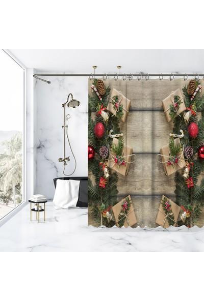 Henge Baskılı Duş Perde Ahşap Masa Çam Kozalakları Dallar İle Noel Hediye Paketleri 175cm X 200cm