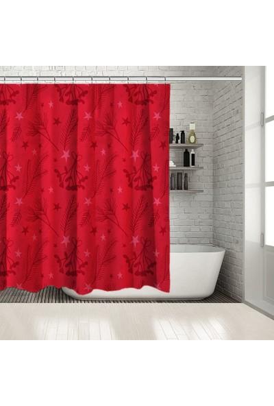 Henge Baskılı Duş Perde Noel Kırmızı Nar Çiçeği Renkli Ökse Otu ile Dallar Yıldızlar 175cm X 180cm