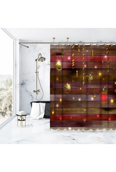 Henge Baskılı Duş Perde Ahşap Desenli Noel Yılbaşı Parti Temalı Kırmızı 175cm X 180cm