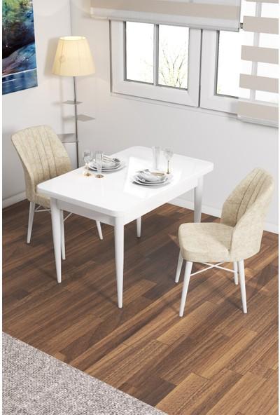 Rovena Lera Serisi Beyaz Ahşap Ayaklı Sabit Masa Takımı +2 Adet Sandalye