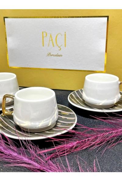 Paçi 6 Kişilik Porselen Altın Kulplu Kahve Fincan Takımı