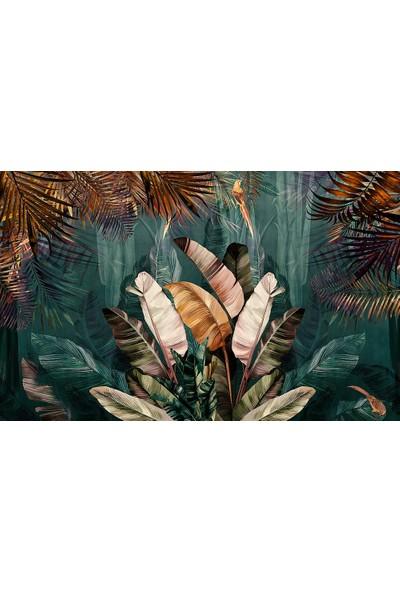 Özen Duvar Kağıdı Tropikal Yapraklı Duvar Kağıdı Büyük Renkli Tropikal Yapraklar