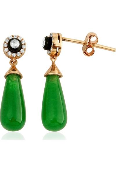 Clavis Jewelry Elmas ve Pırlanta Taşlı Drop Kök Zümrüt Küpe