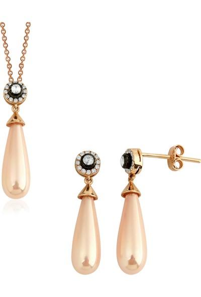 Clavis Jewelry Elmas ve Pırlanta Taşlı Drop Pembe İncili Küpe