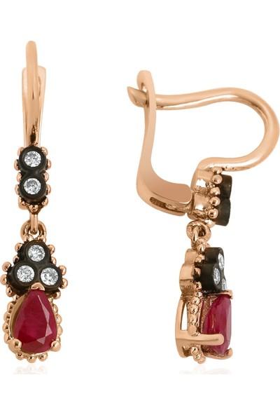 Clavis Jewelry Elmas ve Yakut Taşlı Küpe