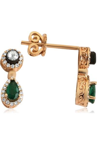 Clavis Jewelry Elmas, Pırlanta ve Damla Zümrüt Taşlı Küpe