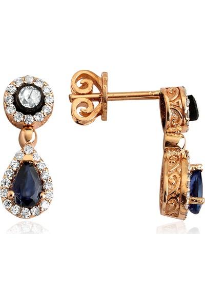 Clavis Jewelry Elmas, Pırlanta ve Damla Safir Taşlı Küpe