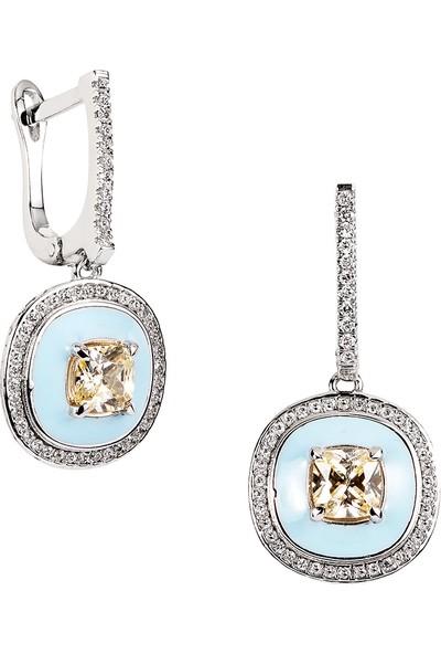 Clavis Jewelry Mineli, Citrin ve Pırlantalı Küpe
