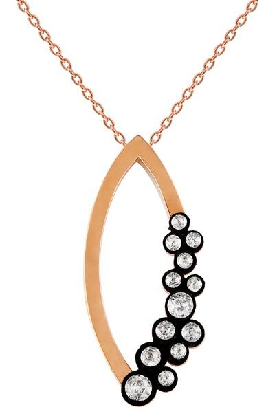 Clavis Jewelry Elmas Taşlı Markiz Model Kolye