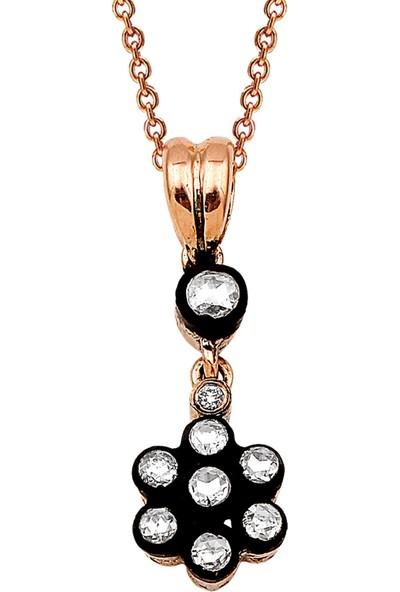 Clavis Jewelry Elmas Taşlı Gül Kolye