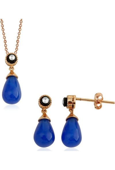 Clavis Jewelry Elmas Taşlı Drop Safir Kolye