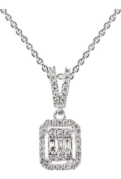 Clavis Jewelry Baget Kesim Pırlantalı Kolye
