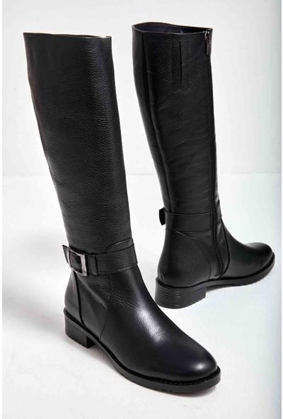 Bambi̇ Siyah Deri Kadın Çizme