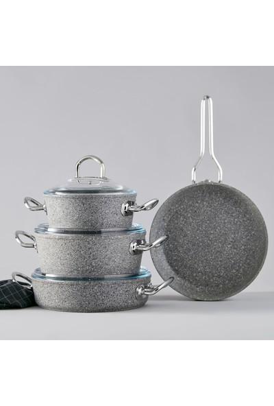 Karaca Silver Stone Bio Granit Metal Kulplu 7 Parça Indüksiyon Tencere Takımı