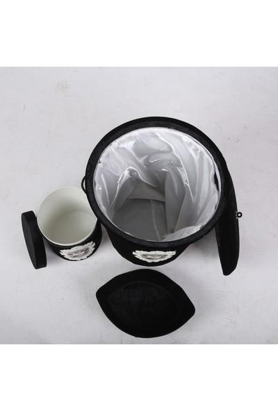 Bonny Home Shems Siyah 6 Prç Dantelli Banyo Kirli Çamaşır Sepeti Seti + Banyo Paspası Seti