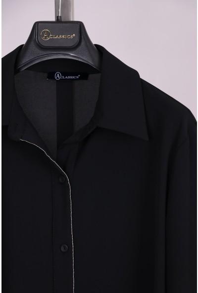 Aclassics Büyük Beden Siyah Yakalı Düğmeli Ipek Dokulu Manşetli Bluz