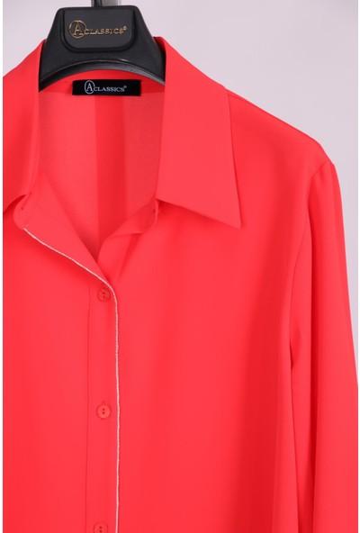 Aclassics Büyük Beden Kırmızı Yakalı Düğmeli Ipek Dokulu Manşetli Bluz