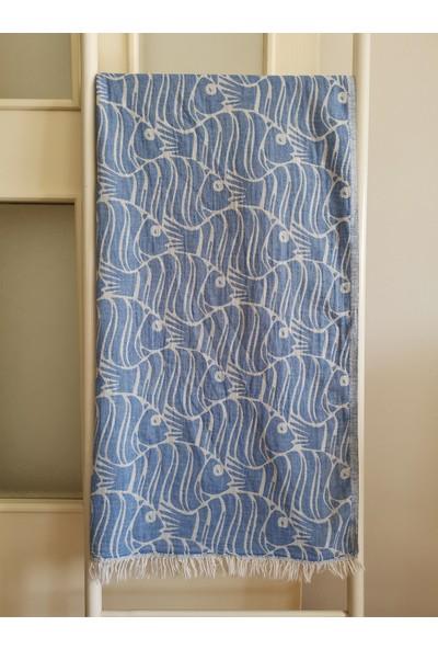 Melis Home Peştemal Banyo Havlusu Spa Sauna ve Plaj Havlusu %100 Pamuk 100x180 cm Çift Katlı Balık Mavi
