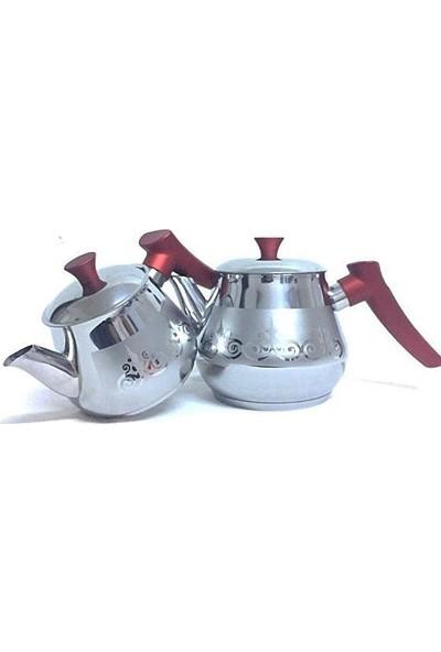 Papatyam Burcu Mini Boy Süzgeçli Demlik Desenli Çelik Çaydanlık