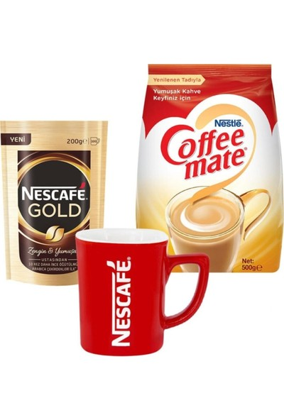 Nescafe Gold Eko Paket 200 gr & Nestle Coffee Mate 500 gr & Kupa