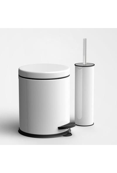 Sas Beyaz Çöp Kovası Wc Fırça Set 2 Li Set 5 Lt