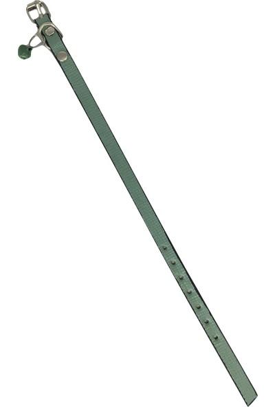 Mint Yeşili Kendinden Desenli Derili 1 cm Zilli Kedi Tasması