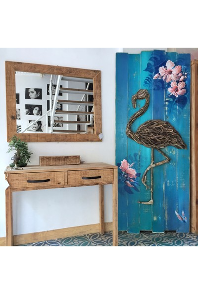 Hamira Masifhayat Flamingo Masif Ahşap Duvar Dekoru