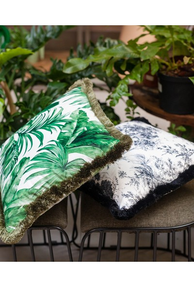 Adawall Yeşil Palmiye Dekoratif Kırlent