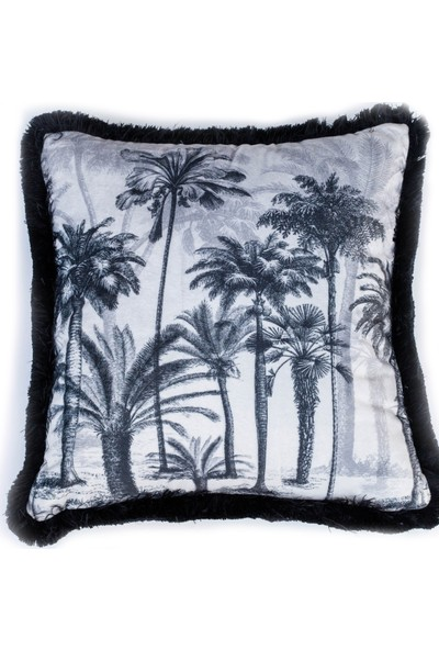 Adawall Siyah Tropikal Dekoratif Kırlent