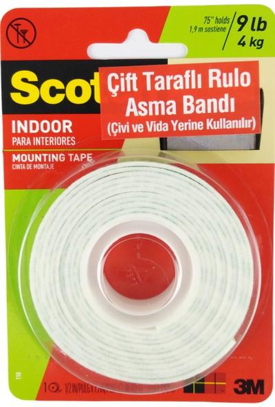 Scotch Çift Taraflı Yapışkan Rulo Asma Bandı 4 kg 12,7 mm x 1,9 m