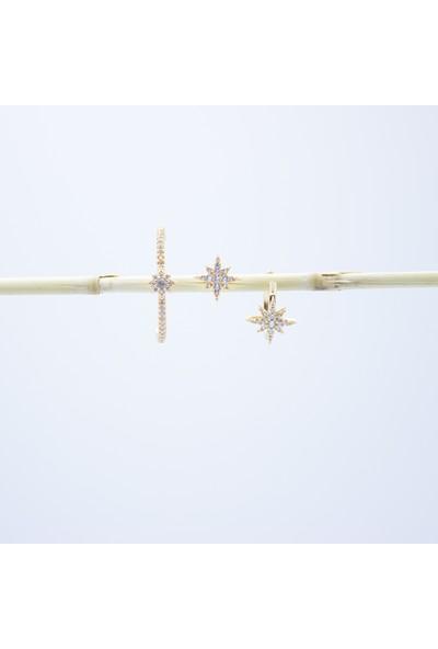 D'amore Atelier Altın Kaplama Kutup Yıldızı Küpe Ear Cuff (Kıkırdak) Set