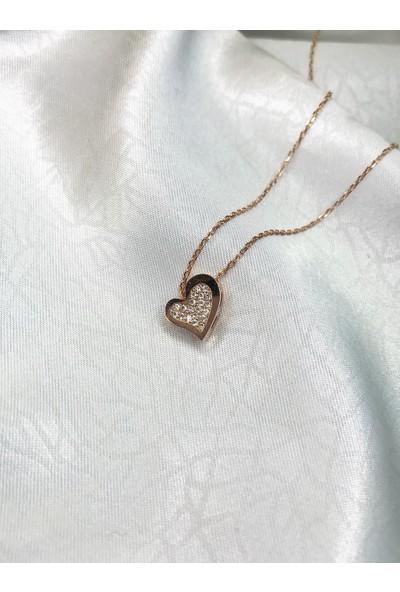 Selens Swarovski Kalp Gümüş Kolye