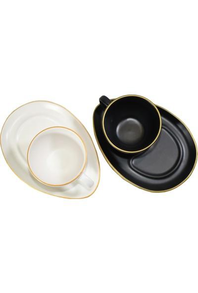 Keramika Fileli Mat Siyah Beyaz Damla Çay/Kahve Sunum Seti 4 Parça 2 Kişilik