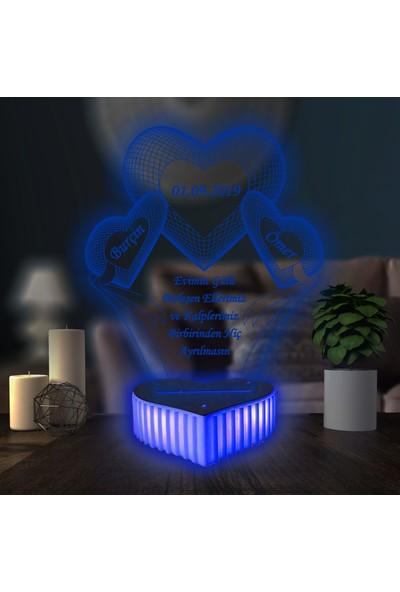 3D Hediye Dünyası Sevgililer Günü Hediyesi Anneler Günü Doğum Günü Hediyesi Özel Hediye 3D Led Lamba 3 kalpli Aşk 16 Renkli Kumandalı Masa Lambası