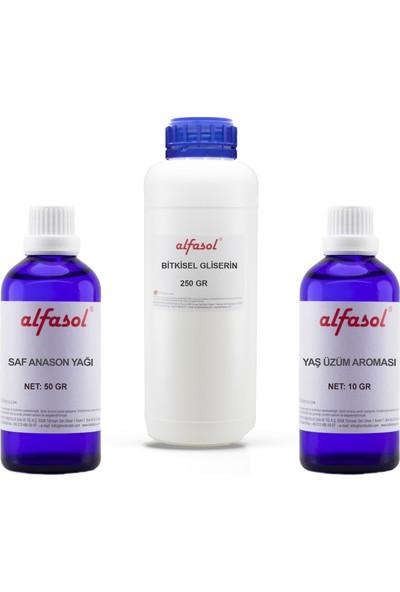 Alfasol 3'lü Set (50 gr ANASON+250 gr Gliserin+10 gr Yaş Üzüm Aroması)